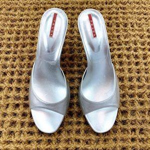 Prada Metallic Silver Open Toe Heels